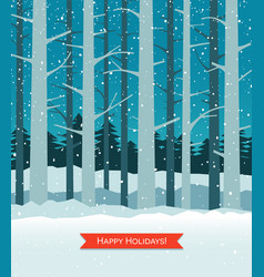 Woods in winter with falling snow greeting card vector