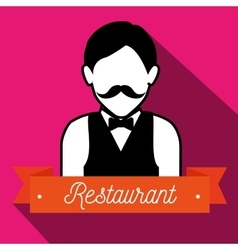 Waiter serving restaurant icon vector
