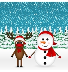 reindeer and a snowman standing in the forest vector image