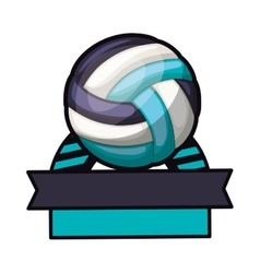 Volleyball tournament thropy emblem with ball vector