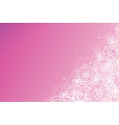 Pink magical flowers glowing horizontal background vector