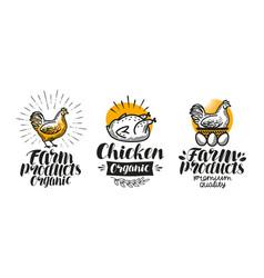 Chicken hen label set poultry farm egg meat vector