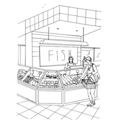 Fish department hand drawn colorful vector