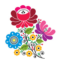 Folk flowers russian retro art floral gzhel desi vector