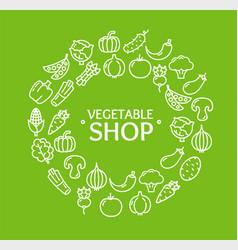 Vegetables food shop round design template outline vector