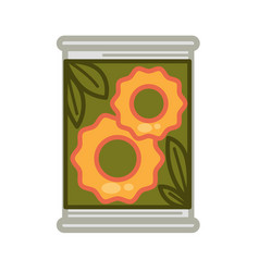 Tin with preserved pineapples vector