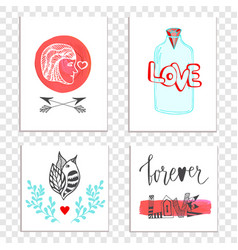 Beautiful valentines day cards with hand drawn vector