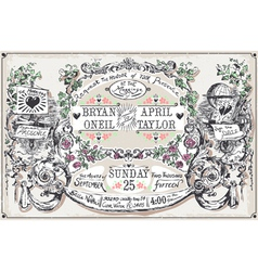 Vintage wedding hand drawn banners and labels vector