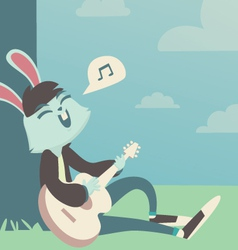 Bunny singing under the tree vector