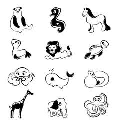 cartoon animal set vector image