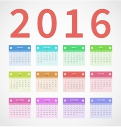 Calendar annual 2016 in flat design vector