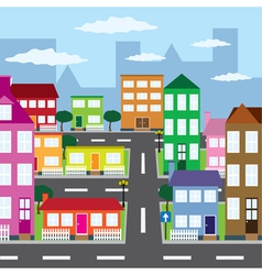 City in sunny day vector