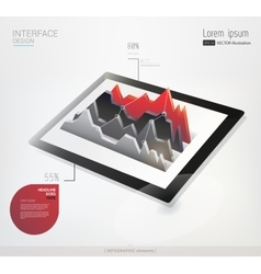 Tablet with infographic graph vector