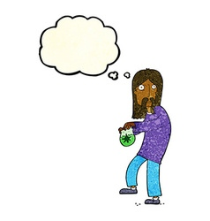 Cartoon hippie man with bag of weed with thought vector