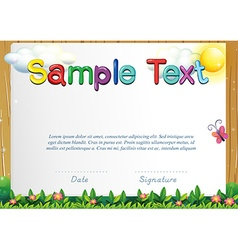 Certificate template with butterfly in the garden vector