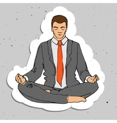 Businessman thinking during meditation cartoon vector