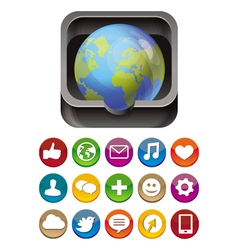 App icon - globe in square box with social media vector