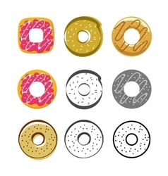 Glazed icing donuts icons set isolated on vector
