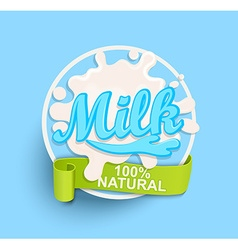 Milk label splash natural vector