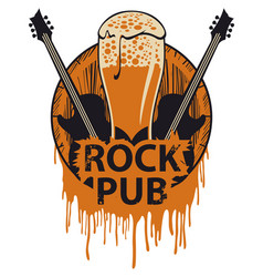 Banner for rock pub with beer barrel and guitars vector