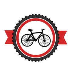 Bicycle sport emblem icon vector