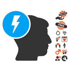 Brain electricity icon with lovely bonus vector