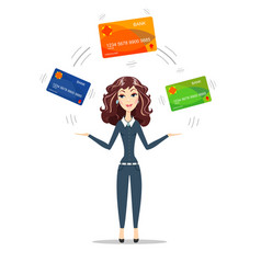 Businesswoman holding plastic cards vector