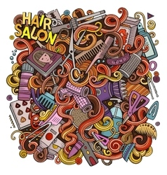 Cartoon doodles hair salon vector