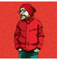 Cartoon funny man in red winter clothes vector