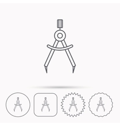 Compasses icon Measurement dividers sign vector image