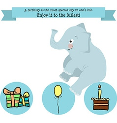 Congratulations birthday with a character elephant vector image