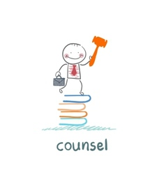 Counsel stands on a pile of books vector