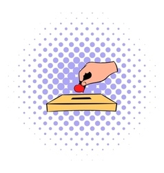 Donation box and red heart icon in comics style vector