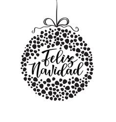 Feliz navidad spanish typography lettering vector