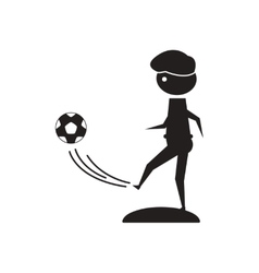 Flat icon in black and white football player vector
