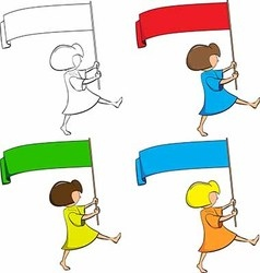 Girl with a flag in his hands vector