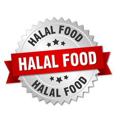 Halal food 3d silver badge with red ribbon vector
