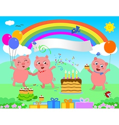 Happy birthday pigs vector image vector image