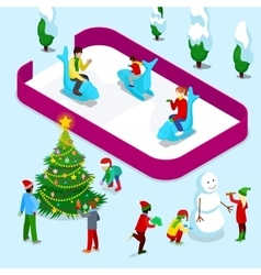 Isometric ice rink with people and children vector