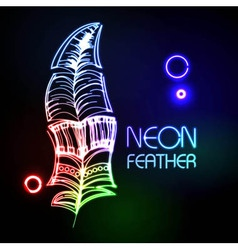 Neon feather vector