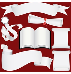 Paper banners scrolls and diploma set vector image