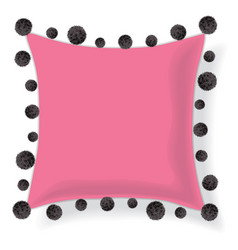 Pink pillow decorated with black decorative vector