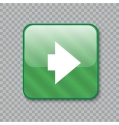 Right arrow icon glossy green button vector