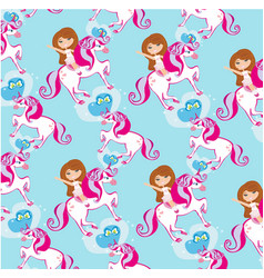seamless pattern with girl on a unicorn vector image vector image