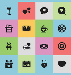 set of 16 editable heart icons includes symbols vector image vector image