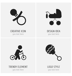 set of 4 editable child icons includes symbols vector image vector image