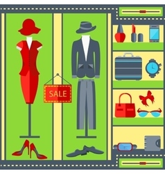 Shop window mens womens clothing suits dresses vector image