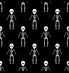 skeleton halloween pattern vector image