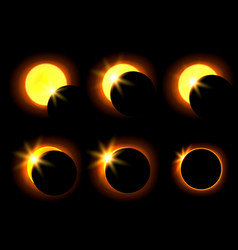 Solar eclipse in six different phases vector