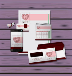 stationary templates of heart design of business vector image